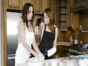 Hot college lesbians making pizza