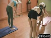 Blonde trainer and hot girls yoga session while naked
