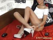 Cam Fine Brunet Girl Stripteasing And Rubbing Her Warm Cunt