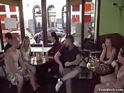 Brunet Takes Cumshot in Public Bar