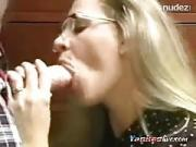 Geeky Chick Gurgling Cum 4