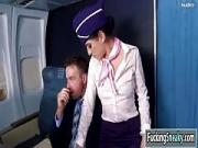 Sweet Flight Attendant Mounts a Passenger