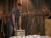Hot rancher anal fucks her help in barn