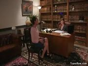 Redhead Attorney Nailed by Humongous Dick Tranny