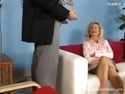 Fair-haired Housewife Katie Spreads For Dick