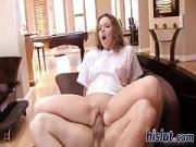 thin Emma rides on a huge dick
