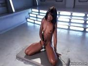 Toned Ebony Squirter Bangs Machine