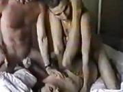 Russian slut has a groupsex deep fuck with 3 guys