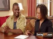 Ebony Swinger Guy Approves The Taste of That Vagina
