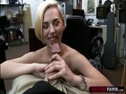 Blonde kneels and gives a deep throat