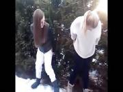 2 Girls pee in the snow