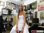Desperate blondie Bride sold her gown and pussy