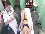 Nasty brunette patient rides doctors cock
