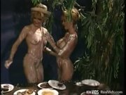 Lesbo gals licks cream from each others