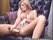 Busty Tera masturbates her pussy with dildo