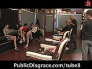 Public bondage porn shoot at hair salon