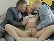 Pretty slut banged by two guys