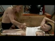 Blonde tranny Paris gives handjob
