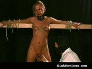 Pityful slave bounded on a plank