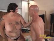 Tattooed brunette fatty likes nailing her hung man's gaping butthole