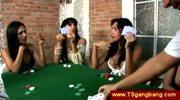Shemale poker players seduce croupier