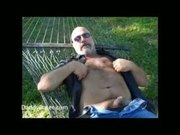 Hairy Daddy Bear Stroking on a Sunny Day