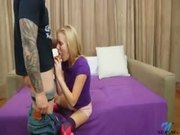 Petite Blonde Sucks A Hard Cock Before Sex