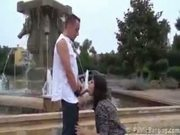 Public sex threesome by a fountain