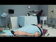 Black haired hot doctor in stockings glasses fantasizes over ER nurse