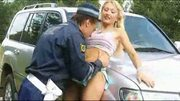 Policeman fuck the bitch on the street outdoor