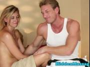 Massage loving babe facialized by masseur