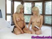 Blonde lezzie gets oral