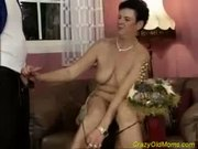 Crazy old mom gets fucked hard with two big cocks deep