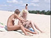 Teen nudists get naked and heat up a public