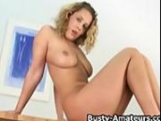 Busty blonde amateur Anna masturbates her pussy