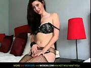 Sexy brunette plays with her pussy on cam