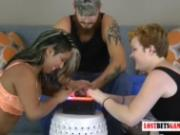 2 Girls and One Guy Play a Strip Game of Whose Fingers Are Faster