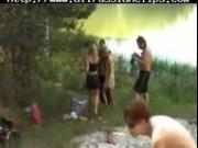 Group Sex On The Shores Of A Lake russian cumshots swallow