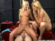 Busty blondes' anal threeway