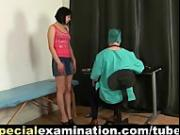Shy brunette's medical exam