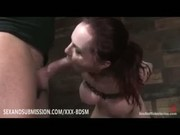 Bondage busty redhead babe gives blowjob
