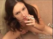 Smoking Brunette Gets A Facial POV