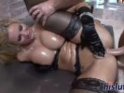 Oiled up starlet Phoenix Marie gets screwed