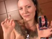 Nasty solo slut dildos her hole