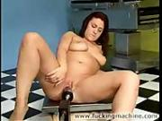 A Chubby Brunette Masturbates with her Fuck Machines