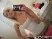 Self shot blonde strip tease teen
