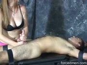 Mistress masturbates and slaps a horny man's cock