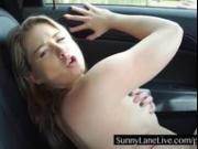 Horny Sunny Lane Gets Frisky in the Back Seat
