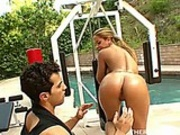 Busty blonde babe gets her pussy worked out on a backyard