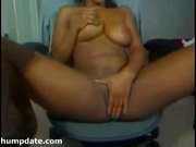 Busty pussy fingering and squirting ebony babe